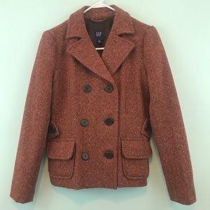 Like New Gap Tweed Wool Brown/Orange Peacoat